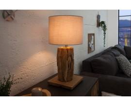 Koloniálna stolná lampa Pole I z kúskov naplaveného dreva a polohovateľným ľanovým tienidlom v sivej farbe 59-70cm