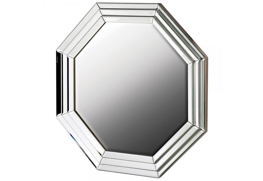 Osemuholníkové art-deco veľké nástenné hodiny Octagenn v hrubom ráme striebornej farby