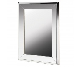 Art-deco luxusné obdĺžnikové nástenné zrkadlo Conil vo veľkom ráme striebornej farby 103cm