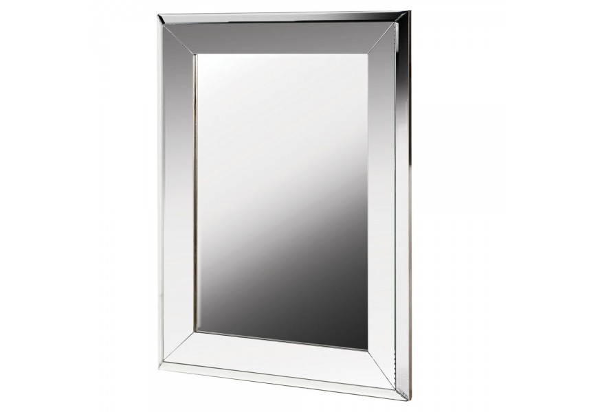 Art-deco nástenné zrkadlo Conil vo veľkom obdĺžnikovom ráme striebornej farby