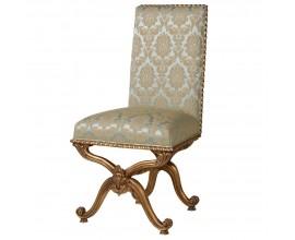 Baroková luxusná jedálenská stolička Roi Gilt s ornamentálnym poťahom v béžových odtieňoch so zlatými nohami 107cm