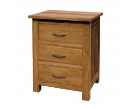 Vidiecky dizajnový hnedý masívny nočný stolík Estrella z dubového dreva s tromi zásuvkami 66cm