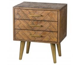 Retro medovo-hnedý nočný stolík HAVANA ORO s parketovým vzorom  na nožičkách zlatej farby 65cm