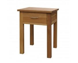 Vidiecky hnedý nočný stolík Estrella z masívneho dubového dreva so zásuvkou 66cm