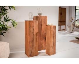 Masívny set troch štvorcových drevených podstavcov Makassar v rozličných rozmeroch 80cm
