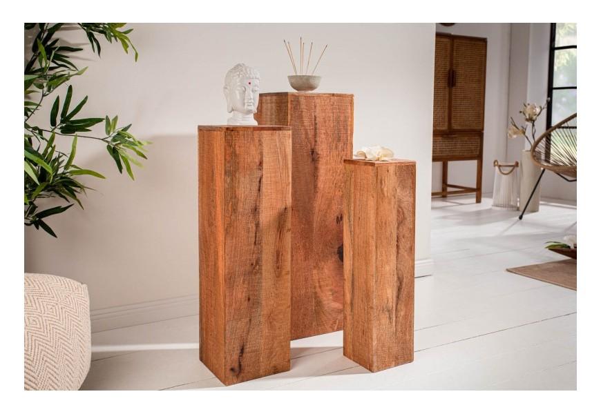 Vidiecky set troch rozličných hranatých podstavcov Makassar z masívneho mangového dreva.