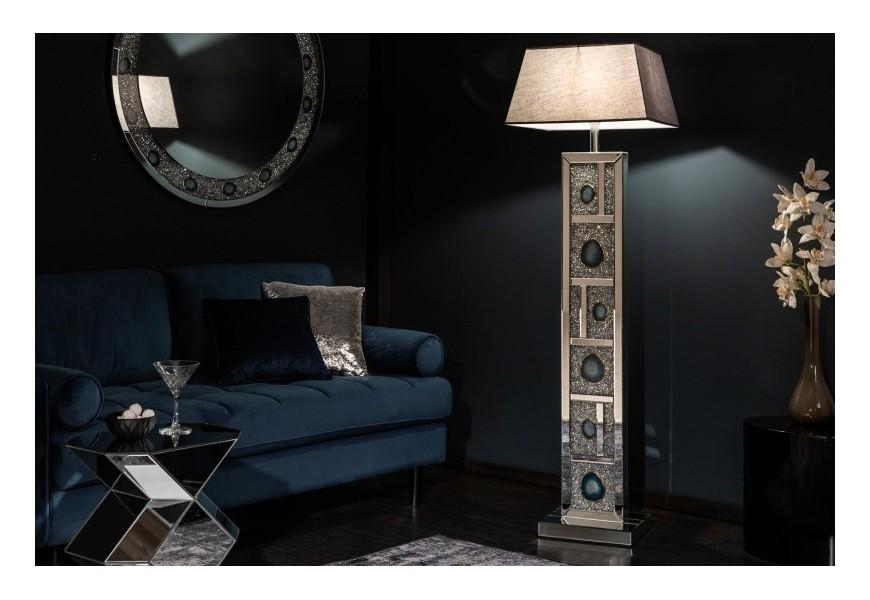 Zrkadlová luxusná stojaca lampa Roodwuk s kryštálmi a modrým achátom 159cm