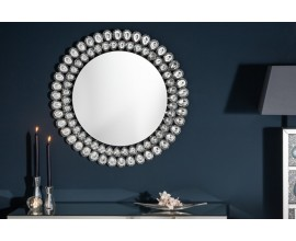 Kruhové závesné zrkadlo Plockton s diamantovým rámom v tvare sĺz 80cm