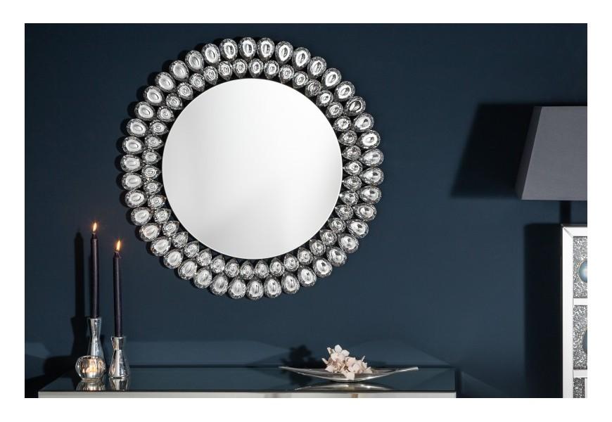 Luxusné závesné kruhové zrkadlo Plockton s dekoratívnym kryštálovým rámom v tvare kvapiek