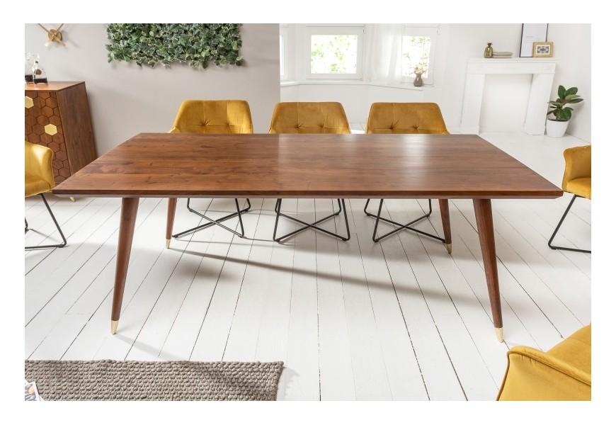 Masívny jedálenský stôl Roslin v art-deco štýle z akáciového masívu hnedej farby so zlatým prvkom na nohách