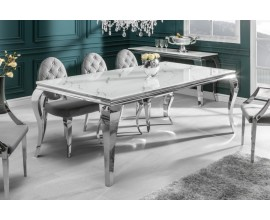 Luxusný sklenený mramorový jedálenský stôl Modern Barock s chrómovými nohami v barokovom štýle 180cm
