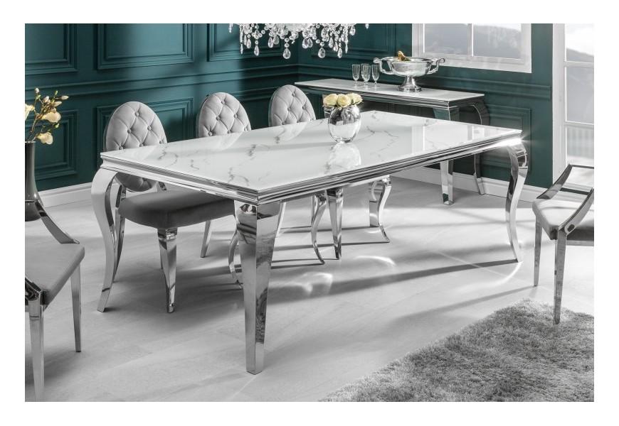 Chrómový barokový jedálenský stôl Modern Barock s mramorovou sklenenou doskou