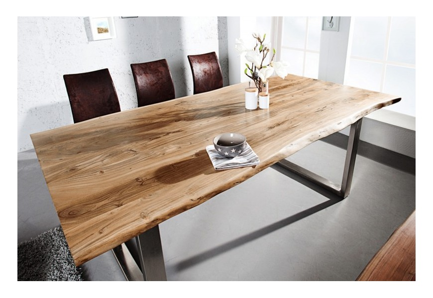 Dizajnový jedálenský stôl Mammut z masívneho agátového dreva v hnedej farbe a s kovovou konštrukciou