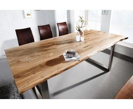 Industriálny dlhý jedálenský stôl Mammut s masívnou doskou z akácie a kovovými nohami v striebornej farbe 180cm