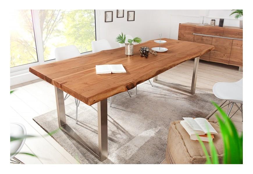 Jedinečný masívny jedálenský stôl Mammut z dreva akácie so striebornou kovovou konštrukciou