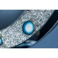 Luxusné okrúhle nástenné zrkadlo Roodwuk s kryštálmi a modrým achátom 100cm