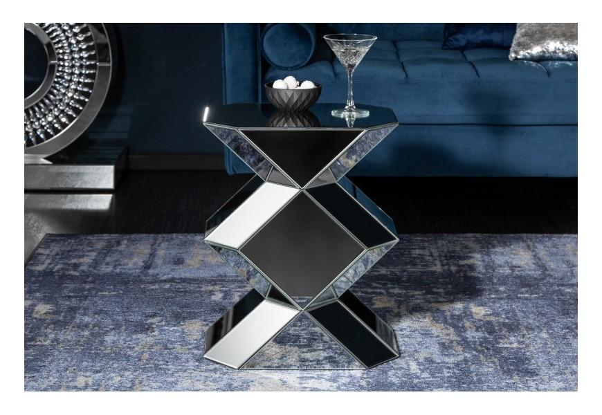 Zrkadlový geometrický príručný stolík Badarcho 51cm
