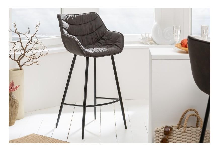 Štýlová retro barová stolička Ima s operadlom a podrúčkami so sivým poťahom a s čiernou kovovou konštrukciou