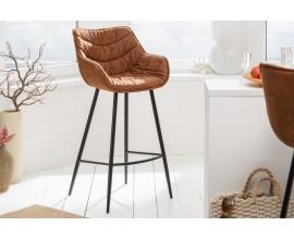 Dizajnová barová stolička Ima v retro štýle s hnedým čalúnením a s čiernou kovovou konštrukciou
