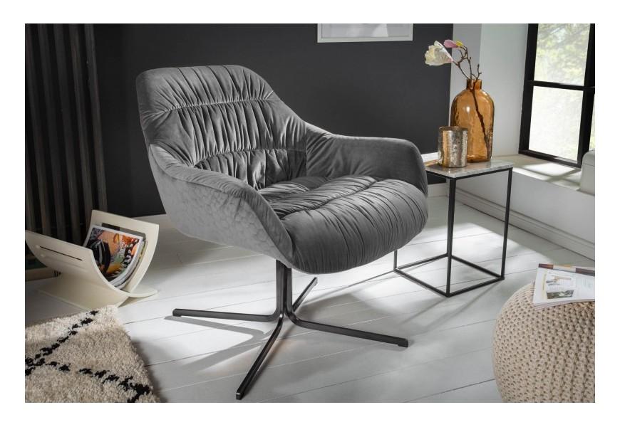 Štýlové retro kreslo Dumfies s poťahom zo zamatu  v sivej farbe na kovovej konštrukcii v čiernej farbe