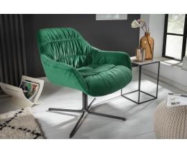 Retro dizajnové kreslo Dumfies so zamatovým poťahom v zelenej farbe 79cm
