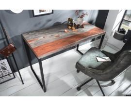 Industriálny písací stôl Elements z masívneho palisandrového dreva s čiernou kovovou konštrukciou 118cm