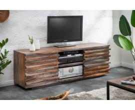 Koloniálny TV stolík Sheesham z masívneho dreva v hnedo-sivej farbe s dvomi dvierkami 150cm