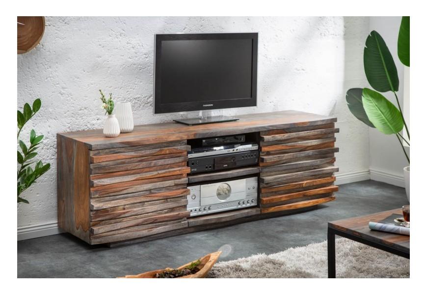 Masívny koloniálny TV stolík Sheesham s dvomi dvierkami a dvomi poličkami v hnedo-sivej farbe z palisandrového dreva