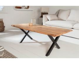 Masívny konferenčný stolík Mammut z akáciového dreva s čiernou kovovou konštrukciou 118cm