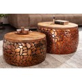 Štýlový set okrúhlych industriálnych konferenčných stolíkov Riverstone z kovu a dreva v hnedej farbe