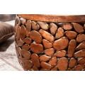 Dizajnový set kruhových industriálnych konferenčných stolíkov Riverstone z kovu a masívu 62cm