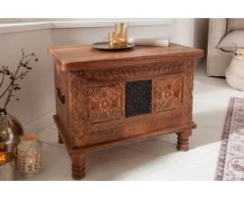 Orientálna vyrezávaná truhlica Rosthall z masívneho dreva s úložným priestorom 65cm