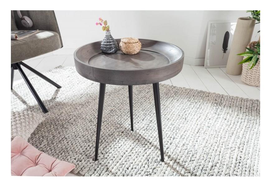 Dizajnový kruhový príručný stolík Tamworth III z masívneho agátového dreva v sivej farbe a s tromi kovovými nožičkami