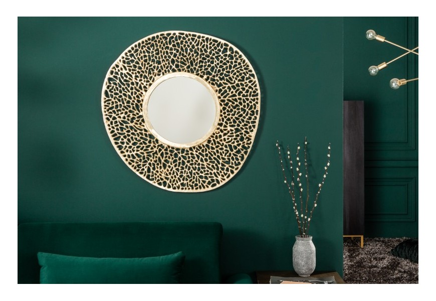 Dizajnové nástenné art-deco zrkadlo Grivan kruhového tvaru s kovovým rámom v zlatej farbe