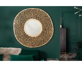Art-deco závesné zrkadlo Girvan so zlatým okrúhlym rámom z kovu 112cm