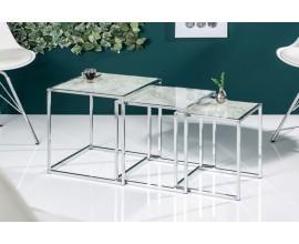 Dizajnový set troch chrómových príručných stolíkov Elements s mramorovou doskou 40cm