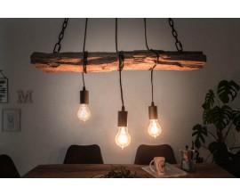 Industriálna závesná lampa Barracuda z masívneho dreva a kovu 73cm
