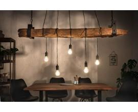 Industriálna závesná lampa Barracuda z masívneho dreva a kovu 152cm