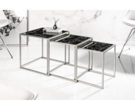 Chrómový dizajnový set štvorcových príručných stolíkov Elements s čiernou povrchovou doskou 40cm