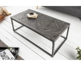 Industriálny obdĺžnikový konferenčný stolík Frida z mangového masívu sivej farby 100cm