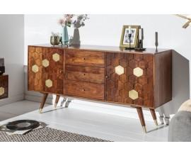 Masívny príborník Roslin z akáciového dreva s organickým dizajnom a zlatými prvkami 145cm