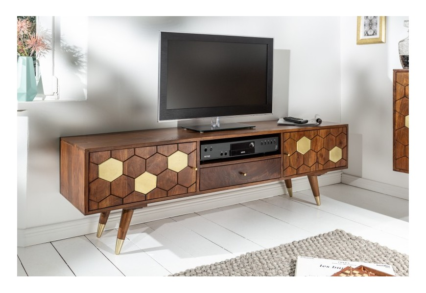 Masívny TV stolík Roslin z akáciového dreva s organickým dizajnom a zlatými prvkami 140cm