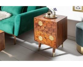 Masívny príručný stolík Roslin z akáciového dreva hnedej farbe so zlatými prvkami a dvomi zásuvkami 55cm