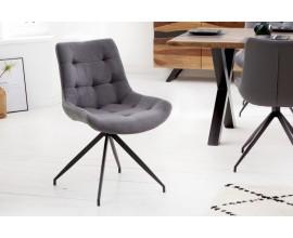 Retro kancelárska stolička Carluke so sivým čalúnením a čiernymi kovovými nohami 86cm