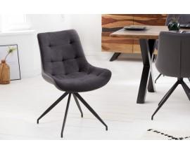 Retro kancelárska stolička Carluke s tmavosivým čalúnením a čiernymi kovovými nohami 86cm