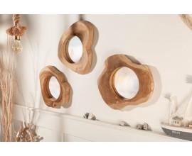 Masívne asymetrické nástenné zrkadlo Teak Root z teakového dreva 41cm