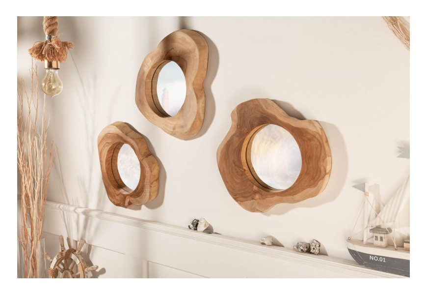 Masívne nástenné zrkadlo Teak Root s hrubým rámom z koloniálneho dreva nepravidelného tvaru