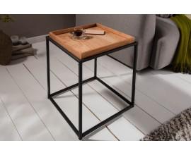 Industruálny dizajnový štvorcový príručný stolík Elements s odnímacou hnedou povrchovou doskou 50cm