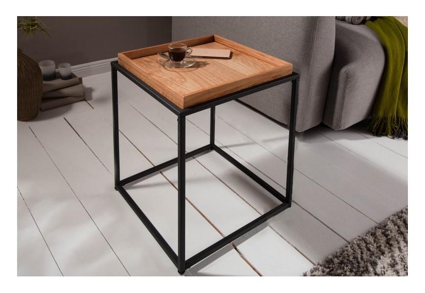 Industriálny príručný stolík Elements na čiernych kovových nožičkách s odnímacou táckou hnedej farby