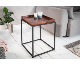 Industruálny štýlový štvorcový príručný stolík Elements s odnímacou tmavohnedou povrchovou doskou 50cm